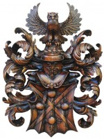 Erb_ruční řezba,Wappen_handgeschnitzte,Coat of arms_wood carved.